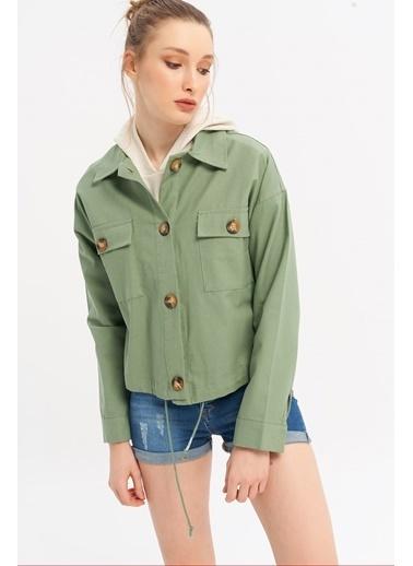 ESQ Bağcıklı Gabardin Ceket Yeşil